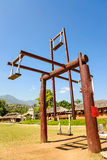 Hill tribes wooden swing at countryside of Thailand at Santichon Royalty Free Stock Image