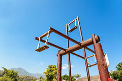 Hill tribes wooden swing at countryside of Thailand at Santichon Royalty Free Stock Images
