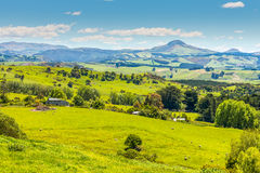Hill view farm rural area Stock Photo