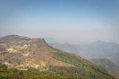 Hill view with green trees. Image is taken at coakers walk kodaikanal tamilnadu india royalty free stock photos