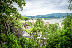 Hill view of Portmeirion. View of Welsh town from a hill Stock Photos