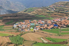 Hill Village. Landscape hill view settlements in india Stock Photo
