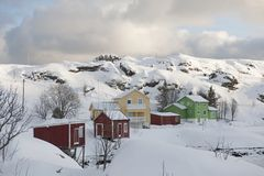 Hill village of Sund on  Flakstadoya Loftofen Norway Stock Photos