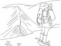 Hill walker illustration with background Stock Image