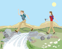 Hill walking Royalty Free Stock Images