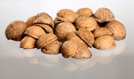 Hill of walnut's nutshells Stock Photo