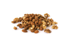 Hill walnuts and almonds Royalty Free Stock Images