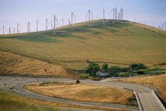 Hill with wind turbines Stock Image
