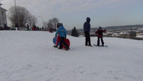 Hill winter children stock video footage