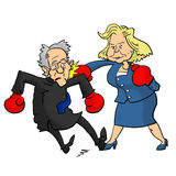 Hillary Clinton beating Bernie Sanders Stock Images