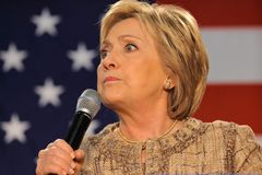 Hillary Clinton Campaigns pour la présidence sur le commutateur Hillary Clinton C Photos stock