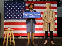 Hillary Clinton Campaigns for Presidency with Maxine Waters at S Stock Images