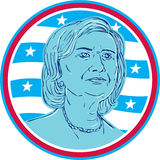 Hillary Clinton Democrat President Candidate. Illustration showing Democrat presidential candidate Hillary Clinton set inside circle with USA American stars and Stock Photography