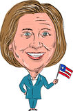 Hillary Clinton Democrat President 2016 Cartoon. Caricature illustration of Democrat president candidate Hillary Clinton waving a US flag facing front on Stock Image