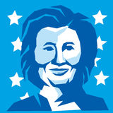 Hillary Clinton Democratic President 2016. Illustration showing head of Democratic Party presidential candidate for president 2016 Hillary Clinton front view Stock Photos