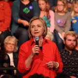 Hillary Clinton. Democratic presidential candidate Hillary Clinton with audience at a town hall rally in Grinnell, Iowa, November 2015 royalty free stock images