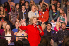 Hillary Clinton. Democratic presidential candidate Hillary Clinton with audience at a town hall rally in Grinnell, Iowa, November 2015 stock photography