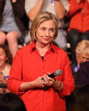 Hillary Clinton. Democratic presidential candidate Hillary Clinton with audience at a town hall rally in Grinnell, Iowa, November 2015 stock photo