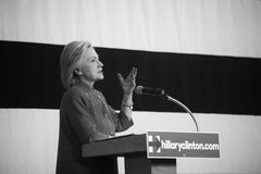 Hillary Clinton. Des Moines, Iowa, USA - June 14, 2015: Democratic candidate for President Hillary Clinton speaks to a group of over 700 supporters at the Iowa royalty free stock photos