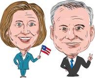 Hillary Clinton e Tim Kaine Election 2016 ilustração royalty free