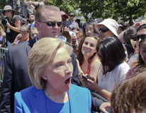 Hillary Clinton entusiasta con i sostenitori Fotografia Stock