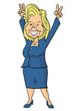 Hillary Clinton holding fingers in victory signs Stock Photos