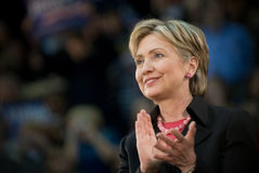 Hillary Clinton klaskali poziome Obrazy Royalty Free