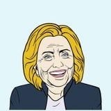 Hillary Clinton, Knall Art Flat Design, Vektor-Illustration Stockbild