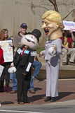Hillary Clinton and Mr. Monopoly With Money Campaign Satire Royalty Free Stock Photography