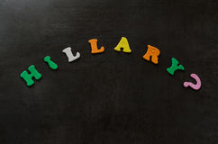 Hillary Clinton. The name Hillary spelled out in colorful letters on black background. American Clinton presidential election campaign concept stock photos