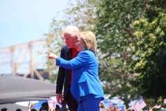 Hillary Clinton. Official launch of the presidential campaign for Hillary Clinton for 2016, took place in New York on Roosevelt Island, at the FDR memorial park royalty free stock photo