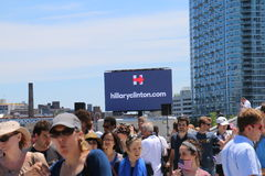 Hillary Clinton. Official launch of the presidential campaign for Hillary Clinton for 2016, took place in New York on Roosevelt Island, at the FDR memorial park stock photo