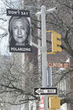 Hillary Clinton. Opposition posters appeared around Hillary Clintons headquarters in Brooklyn Heights on the day she declared her candidacy to become the first royalty free stock images