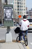 Hillary Clinton. Opposition posters appeared around Hillary Clintons headquarters in Brooklyn Heights on the day she declared her candidacy to become the first royalty free stock image