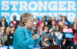 Hillary Clinton parle à Manchester, New Hampshire, le 24 octobre 2016 Photos libres de droits