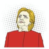Hillary Clinton Pop Art Portrait Vector illustratie 29 september, 2017 Royalty-vrije Stock Foto's