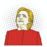 Hillary Clinton Pop Art Portrait. Vector Illustration. September 29, 2017. Hillary Clinton Pop Art Portrait. Vector Illustration Drawing. September 29, 2017 Royalty Free Stock Photos
