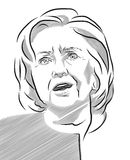 Hillary Clinton Portrait Vector Outline Illustration Stock Images