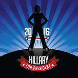 Hillary Clinton for President burst background. October 14, 2015: Illustration showing Democrat presidential candidate Hillary Clinton for President 2016. EPS10 Royalty Free Stock Photo