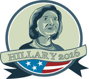 Hillary Clinton President 2016 Circle. Illustration showing Democrat presidential candidate Hillary Clinton set inside circle with USA American stars and stripes Stock Images
