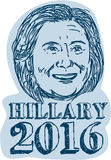 Hillary Clinton President 2016 Drawing. Illustration showing Democrat presidential candidate Hillary Clinton on isolated background done in drawing sketch style Royalty Free Stock Images