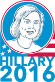 Hillary Clinton President 2016 Elections. Illustration showing Democrat presidential candidate Hillary Clinton set inside circle wit USA American stars and Royalty Free Stock Photography