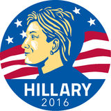Hillary Clinton President 2016. Illustration showing American presidential candidate for president 2016 Hillary Clinton of the Democratic Party side profile with Stock Photo