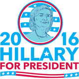 Hillary Clinton for President 2016. Illustration showing Democrat presidential candidate Hillary Clinton set inside circle with USA American stars and stripes Royalty Free Stock Photos