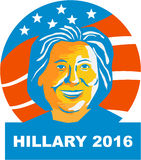 Hillary Clinton 2016 President. Illustration showing Democratic Party presidential candidate for president 2016 Hillary Clinton set inside circle with stars and Stock Images