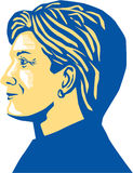 Hillary Clinton President 2016. Illustration showing Democratic Party presidential candidate for president 2016 Hillary Clinton side view profile on isolated Stock Photography