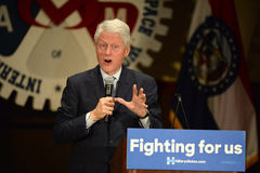 Hillary Clinton Rally in Bridgeton. Bridgeton, MO, USA – March 08, 2016: Former president Bill Clinton speaks to supporters of wife and presidential democratic Royalty Free Stock Photos