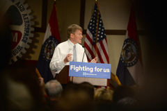 Hillary Clinton Rally in Bridgeton. Bridgeton, MO, USA – March 08, 2016: Missouri Attorney General Chris Koster speaks to supporters of presidential democratic Royalty Free Stock Image