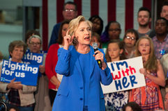 Hillary Clinton rally. Louisville, Kentucky – May 15, 2016: Former Secretary of State Hillary Clinton campaigns to a crowd at a rally in Louisville royalty free stock images