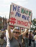 Hillary Clinton Sign Says We Hate No One, I'm With Her Royalty Free Stock Photos